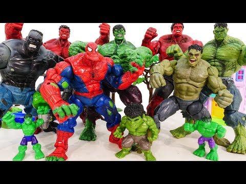 HULK SMASH Toys Collcections Go ~! Red Hulk, Spider Hulk Vs Incredible Hulk Marvel Avengers Battle