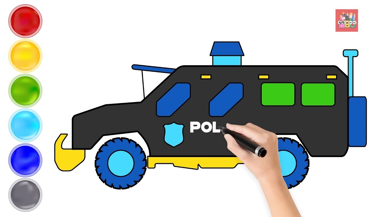 Learning Color with City Vehicle Police SWAT van drawing ...