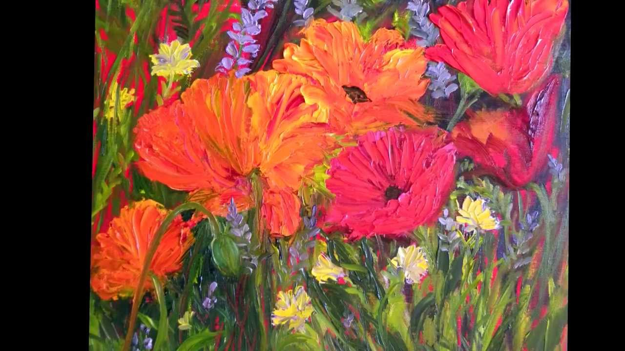 Red Poppies Oil Painting Demo With A Palette Knife By Jane Latus