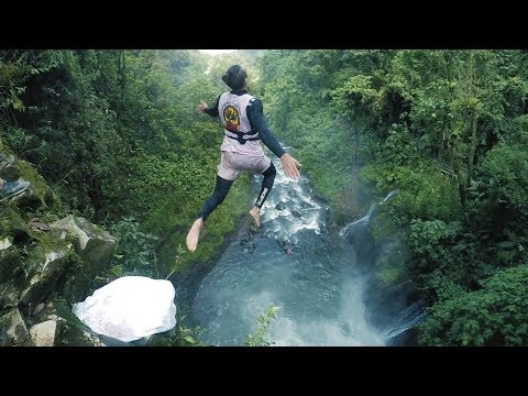 First Ever 100 Ft Cliff Jump off Costa Rican Waterfall