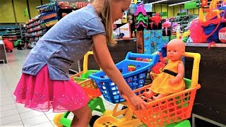 Shopping with Baby and Baby Born doll in the Supermarket funny video for kids