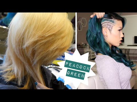 PEACOCK GREEN TRANSFORMATION NEW HAIR COLOR BUZZ CUT - Peacock hairstyle color