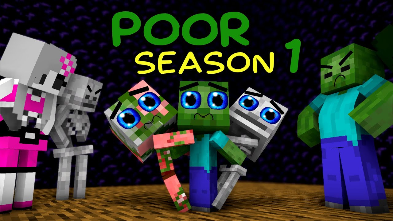 Monster School: Poor Baby Monsters Life (SAD STORY but happy ending) Season 1 - Minecraft Animation