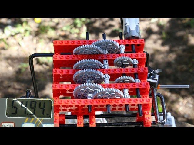 Testing Lego gear systems for hoisting