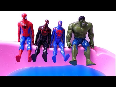 Spider Boy Heroes in Water - Jumping on the Bed Compilation - Super Hero Song