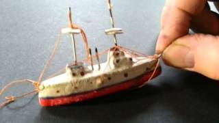 SWEET LITTLE HANDMADE EARLY 20THC. GESSO TOY DREADNOUGHT BATTLESHIP