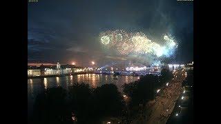 CCTV Алые паруса 2018 салют на Неве фейерверк водно-пиротехническое шоу