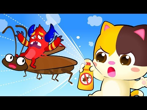 cockroach-invasion-in-kitten's-house- -good-habits-song- -spanish-kids-songs- -babybus