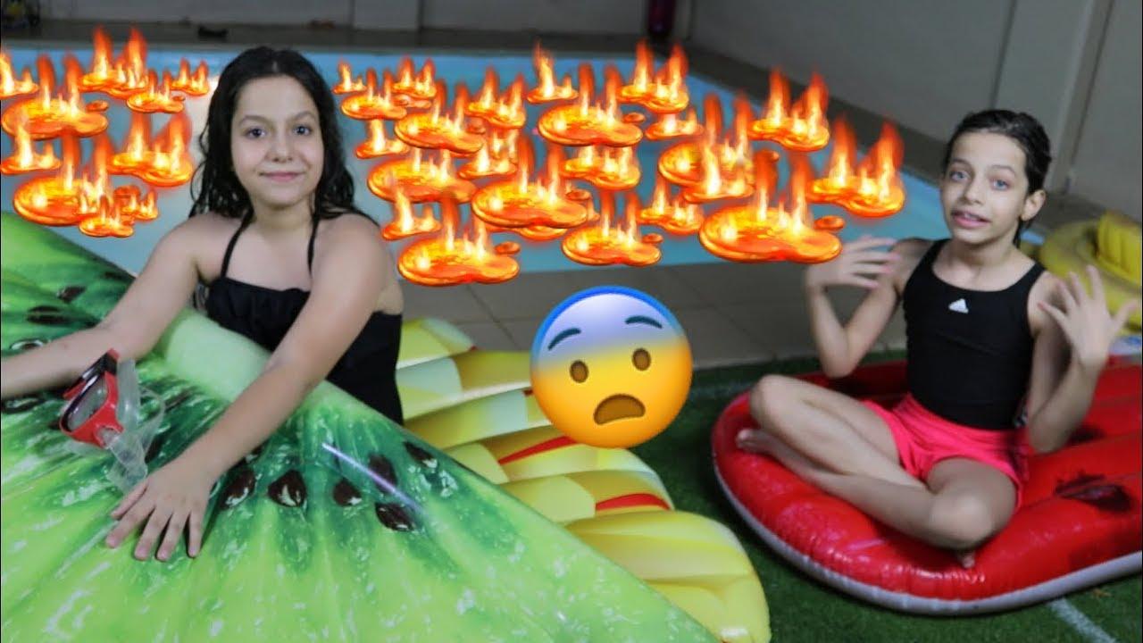 ليش بكت ريان في تحدي المسبح؟ 😭 | !!!POOL IS LAVA CHALLENGE