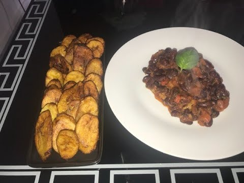 cuisine-rapide-:-banane-plantain-frit-et-sa-jardiniere-d'haricot-rouge-😋