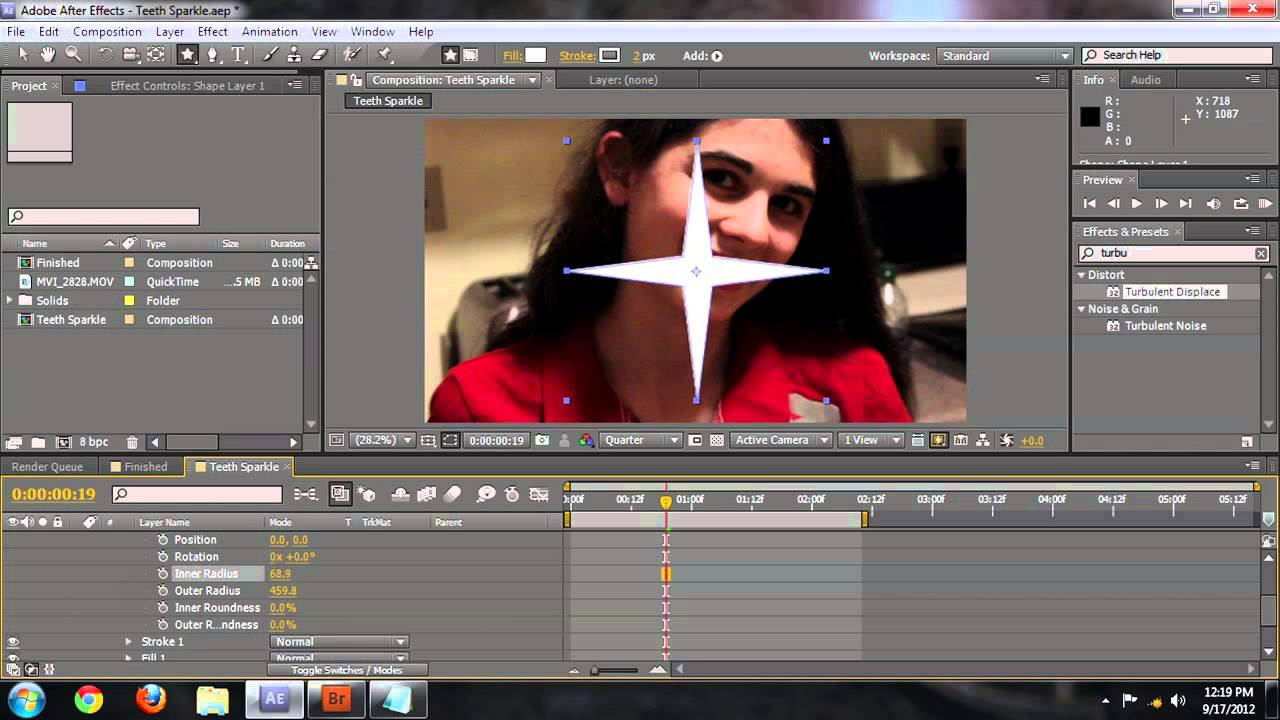 Using After Effects for Sparkle on Teeth : Adobe After Effects