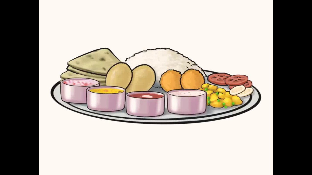 iPad art Drawing of Indian thali (lunch) - YouTube