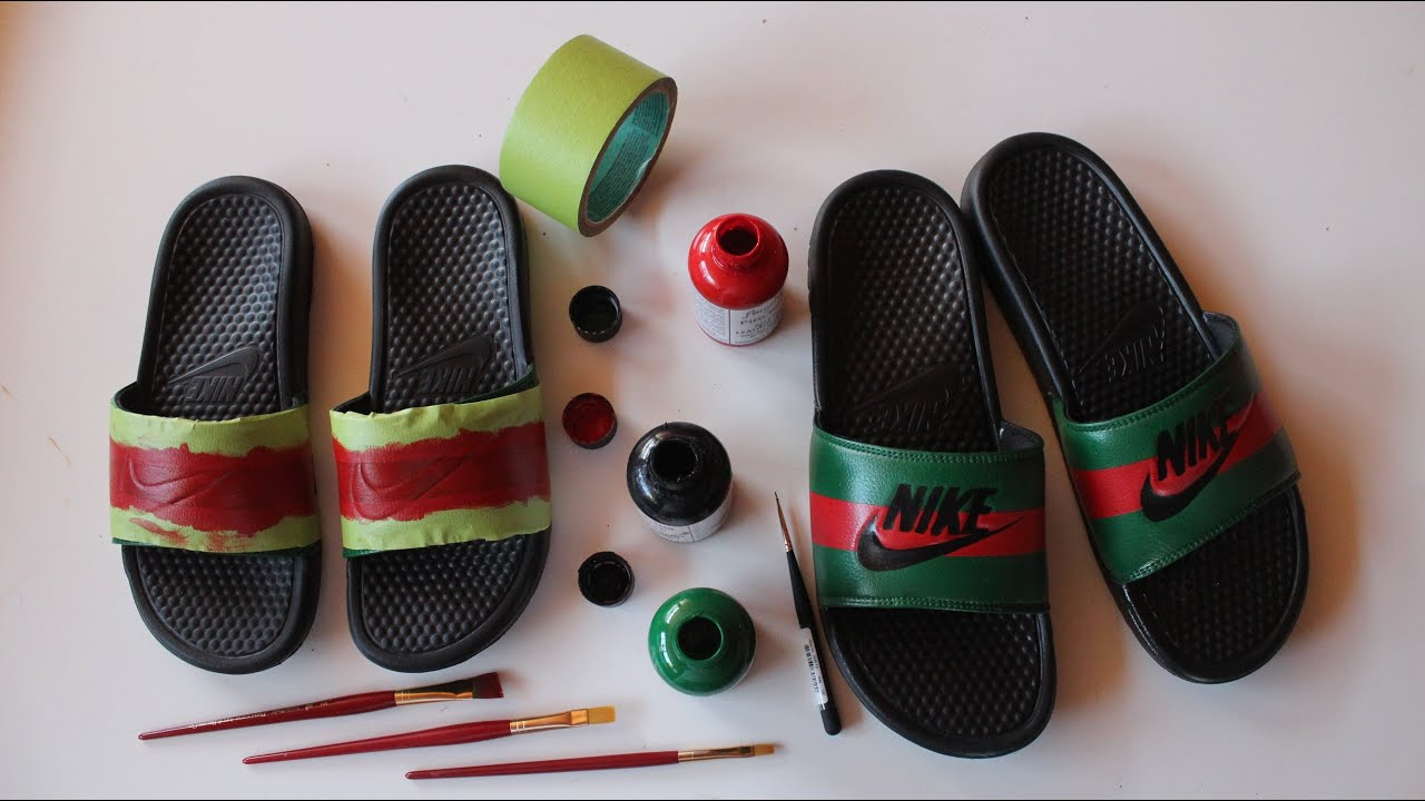 best cheap 011f2 a31ff How To Make Custom Gucci x Nike Sandals