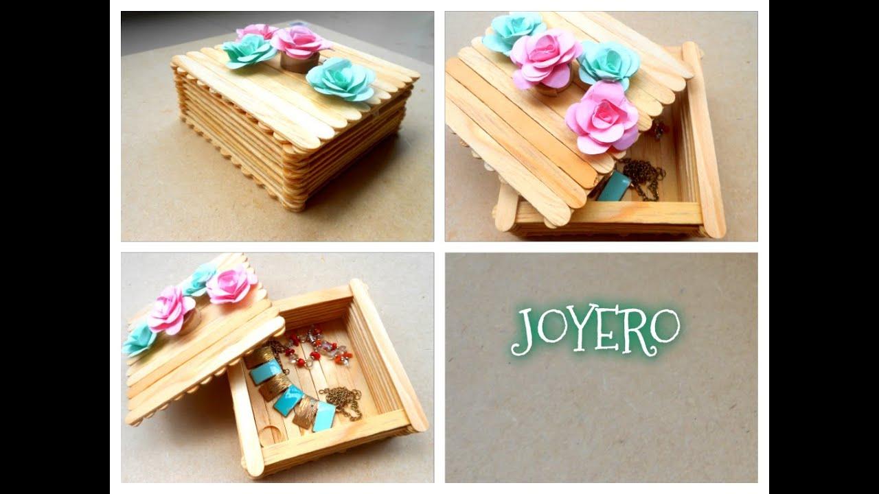 Diy joyero con palos de paleta youtube for Cosas artesanales para navidad