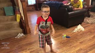 Cute 4-year-old boy with glasses does The Git Up Challenge by Blanco Brown Video