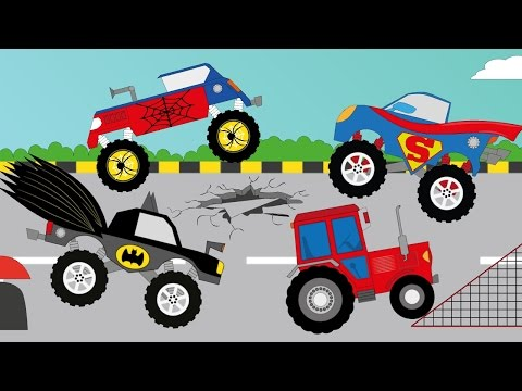 Sklapanje Auta - Traktor,Bager,Superman,Spiderman i Batman  | Crtani film za djecu