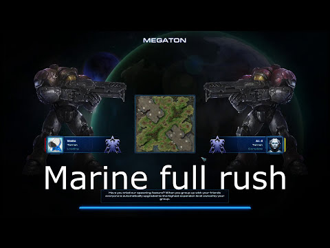 SC2 Marine Full Rush, Terran Strategy, Build order, attack your opponent at min 3