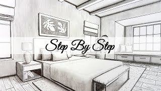 How to Draw A Bedroom in Two Point Perspective  Step By Step