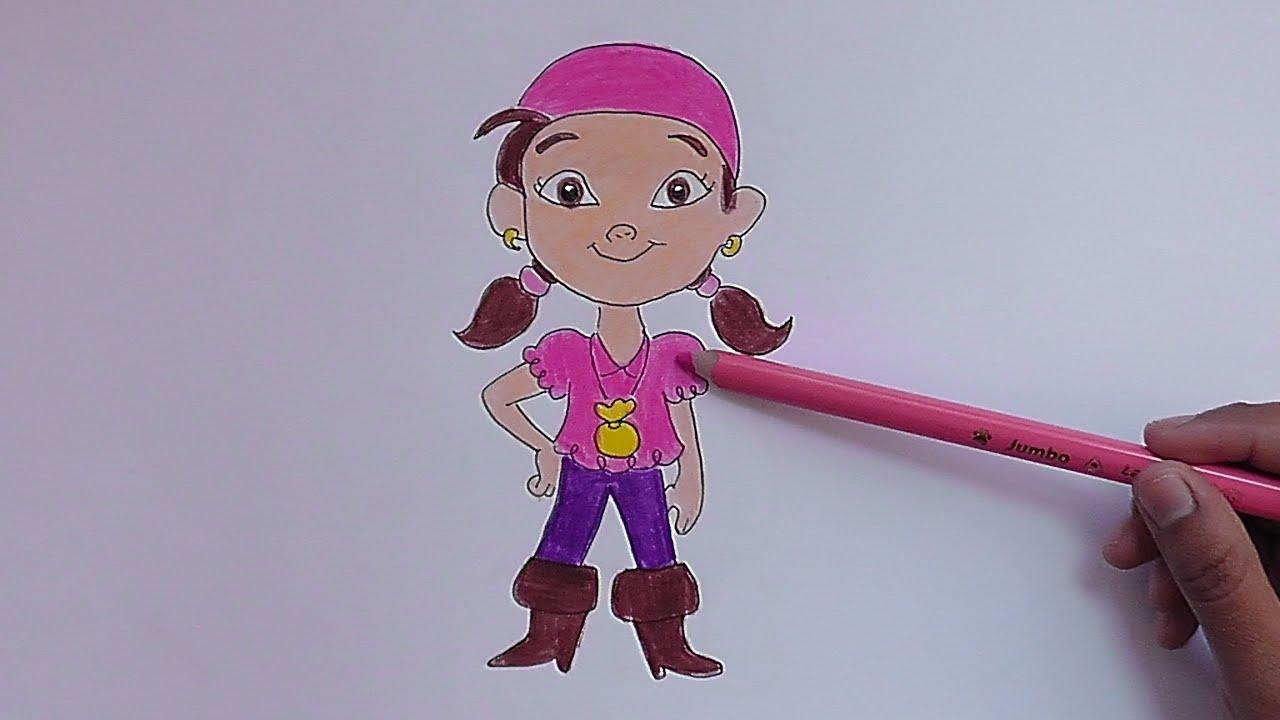 Dibujando a Izzy (Jake y los piratas de nunca jamas) - Drawing Izzy ...