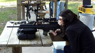 gorgeous woman shooting a hk sl8 for the first time