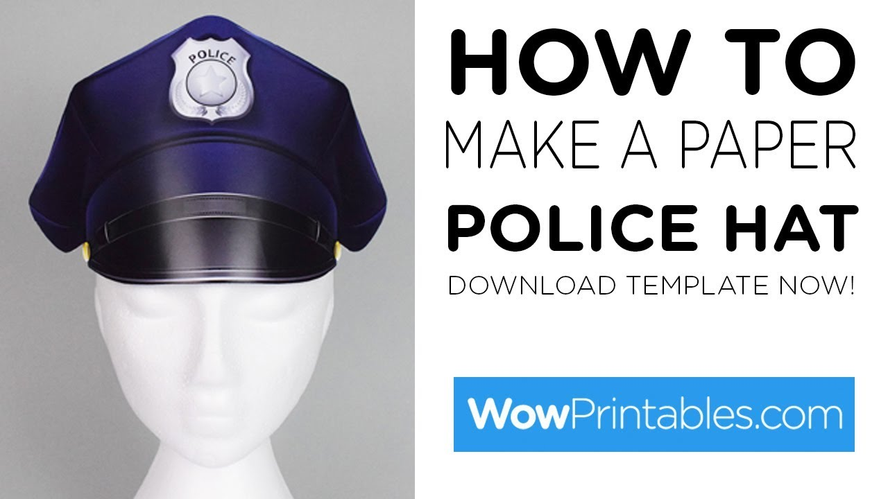 how to make a paper police hat printable template youtube