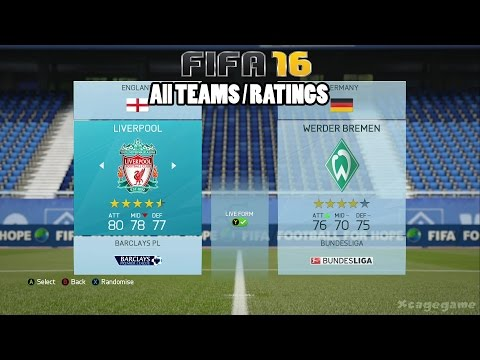 FIFA 16 - All Teams / Ratings [ HD ]