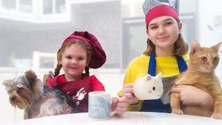 Kids Liza and Nastya prepare christmas Breakfast . Education video for kids