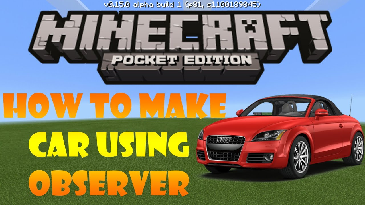 Minecraft PE How to make a Car using Observer - YouTube