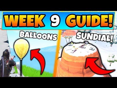 Fortnite WEEK  CHALLENGES! - Golden Balloons Locations, & Sundial (Battle Royale Season  Guide)