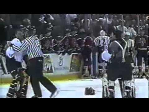 Goalie fight - Bill Ranford vs. Mark Fitzpatrick Capitals / Panthers dual-feed