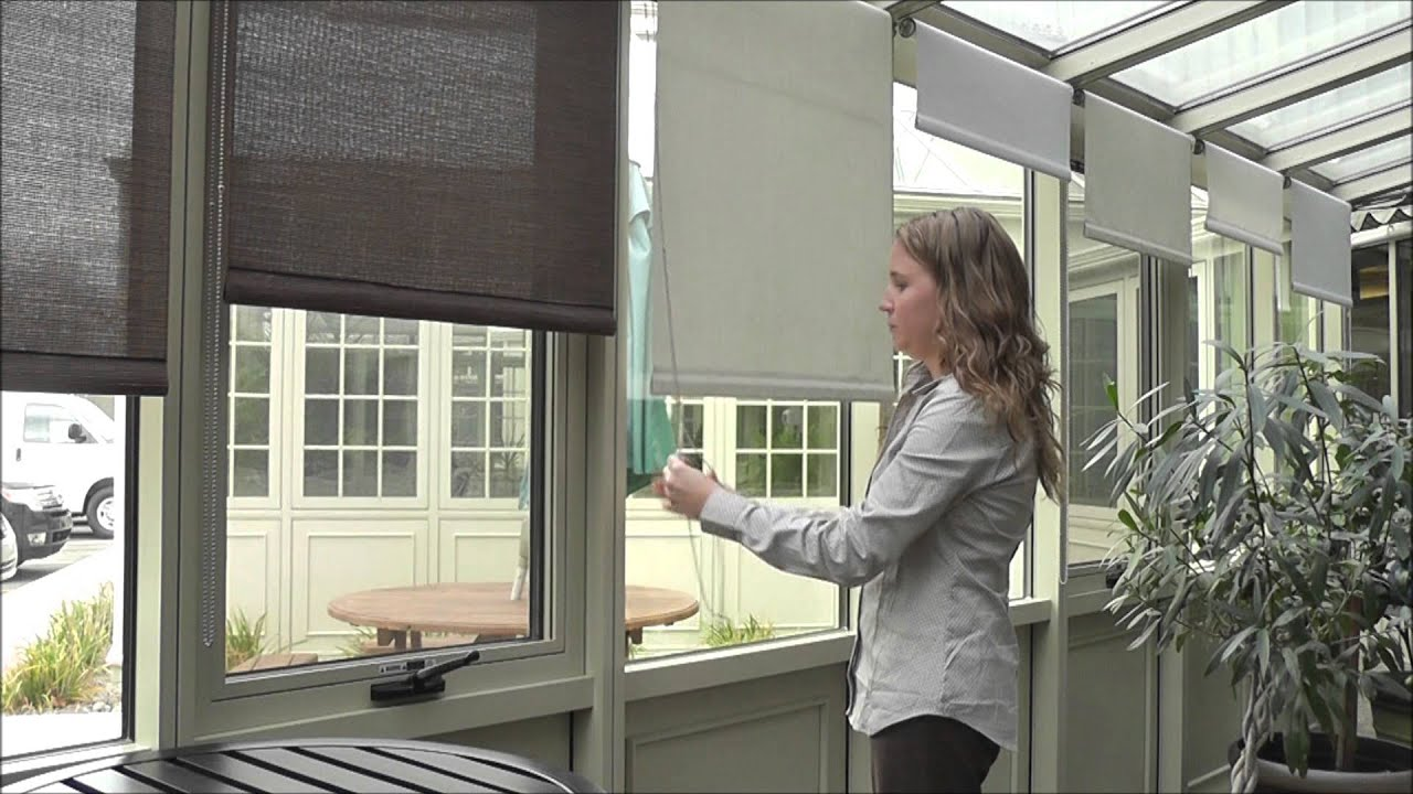 Manually operated vertical roll up window shades youtube for Roll up screens for windows
