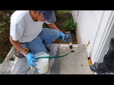How To apply Termidor or Tauros To A Concrete slab - Part 2 - Injecting Into The Concrete Stairs