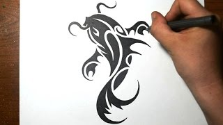 How to Draw a Koi Fish - Simple Tribal Tattoo Design