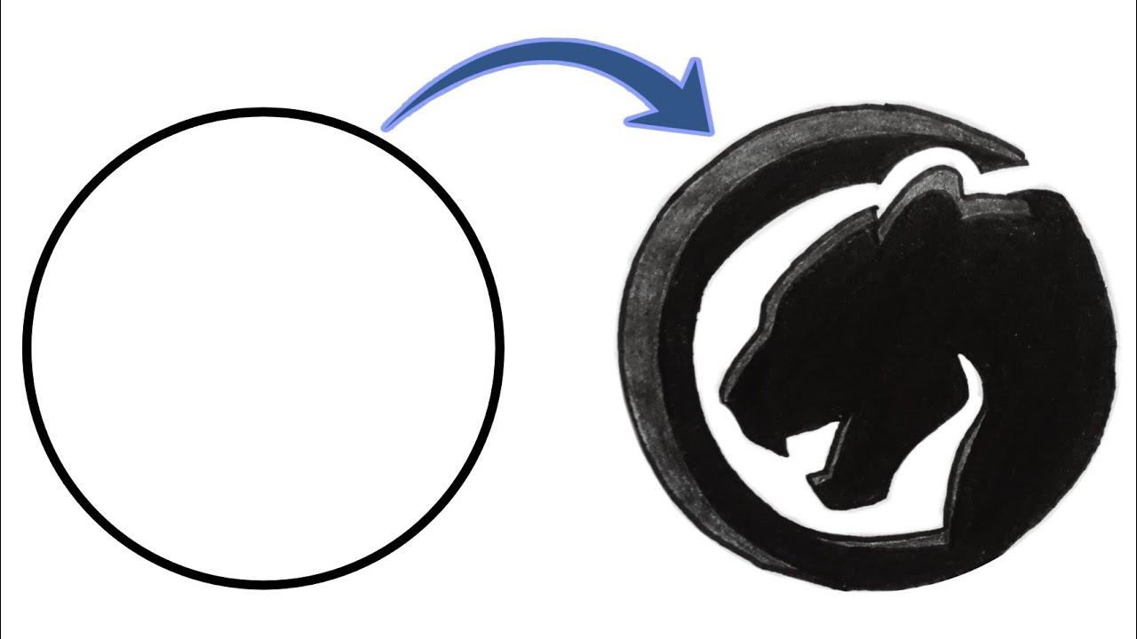 How To Draw Black Panther Logo Simple Drawing Guruji Youtube