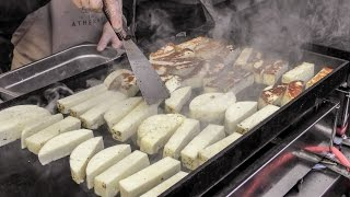 Grill of Greek Cheese and Meat Skewers Seen in London. Street Food From Greece
