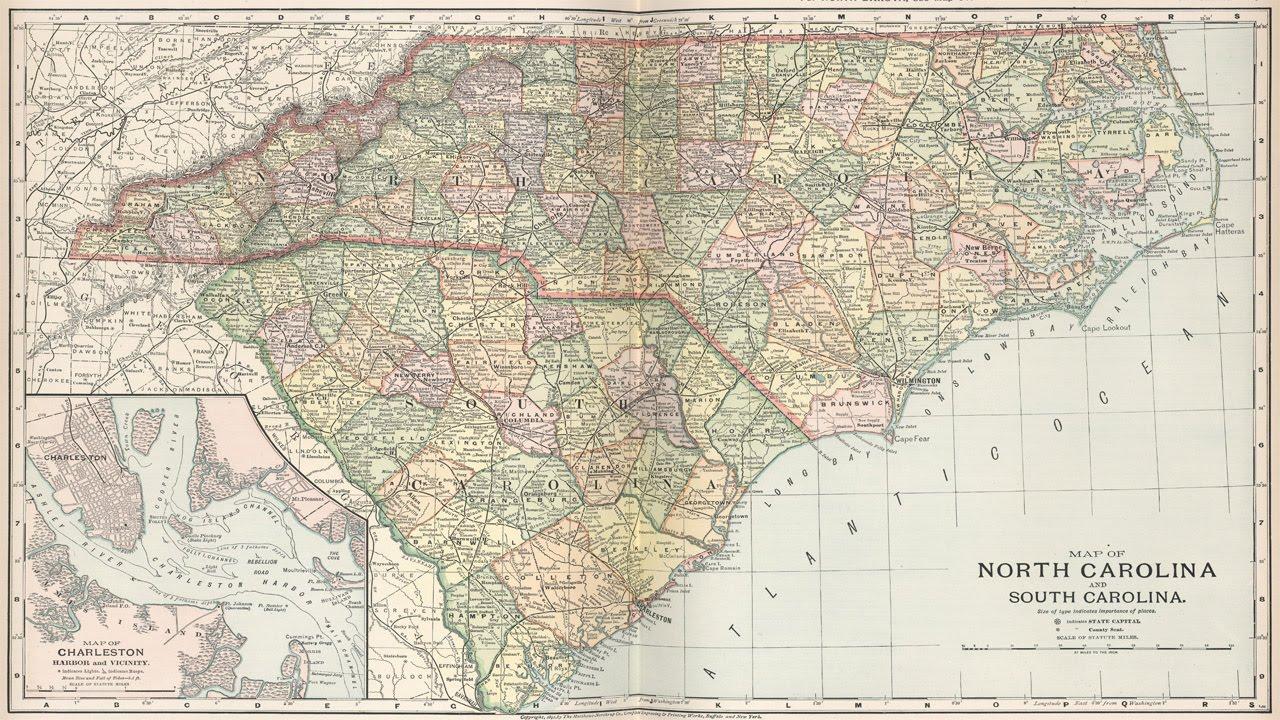 North And South Carolina History And Cartography YouTube - Map of north and south carolina
