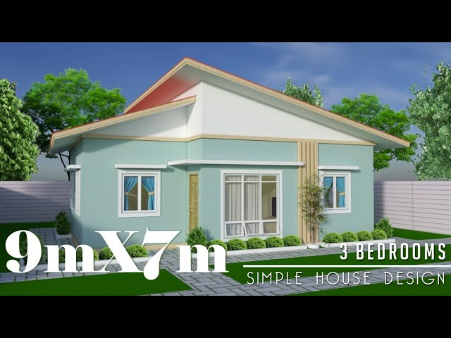 9mx7m (63s.qm) Simple House Design with 3 Bedrooms - YouTube