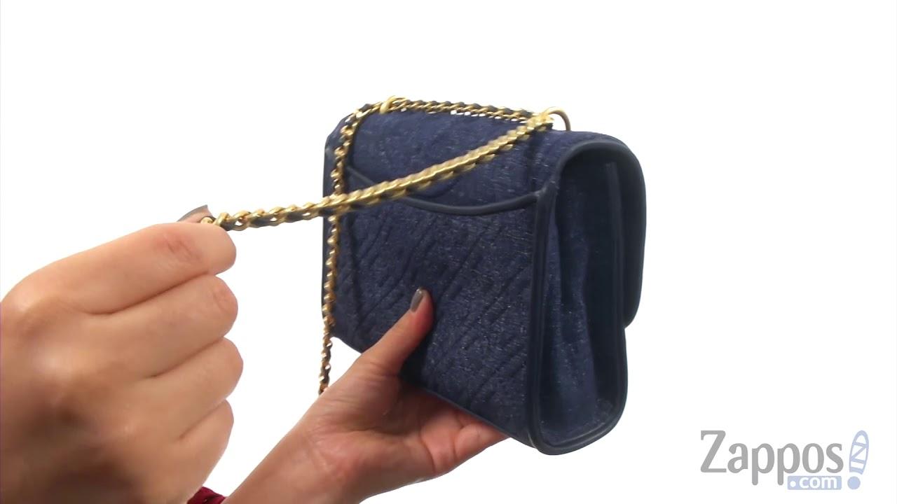 6a7fafcd2bf Tory Burch Fleming Denim Suede Small Convertible Shoulder Bag SKU: 9024178