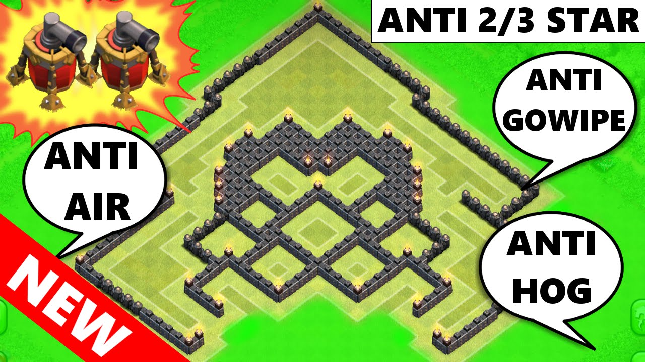 Clash of clans new incredible th9 war trophy base with 2 air