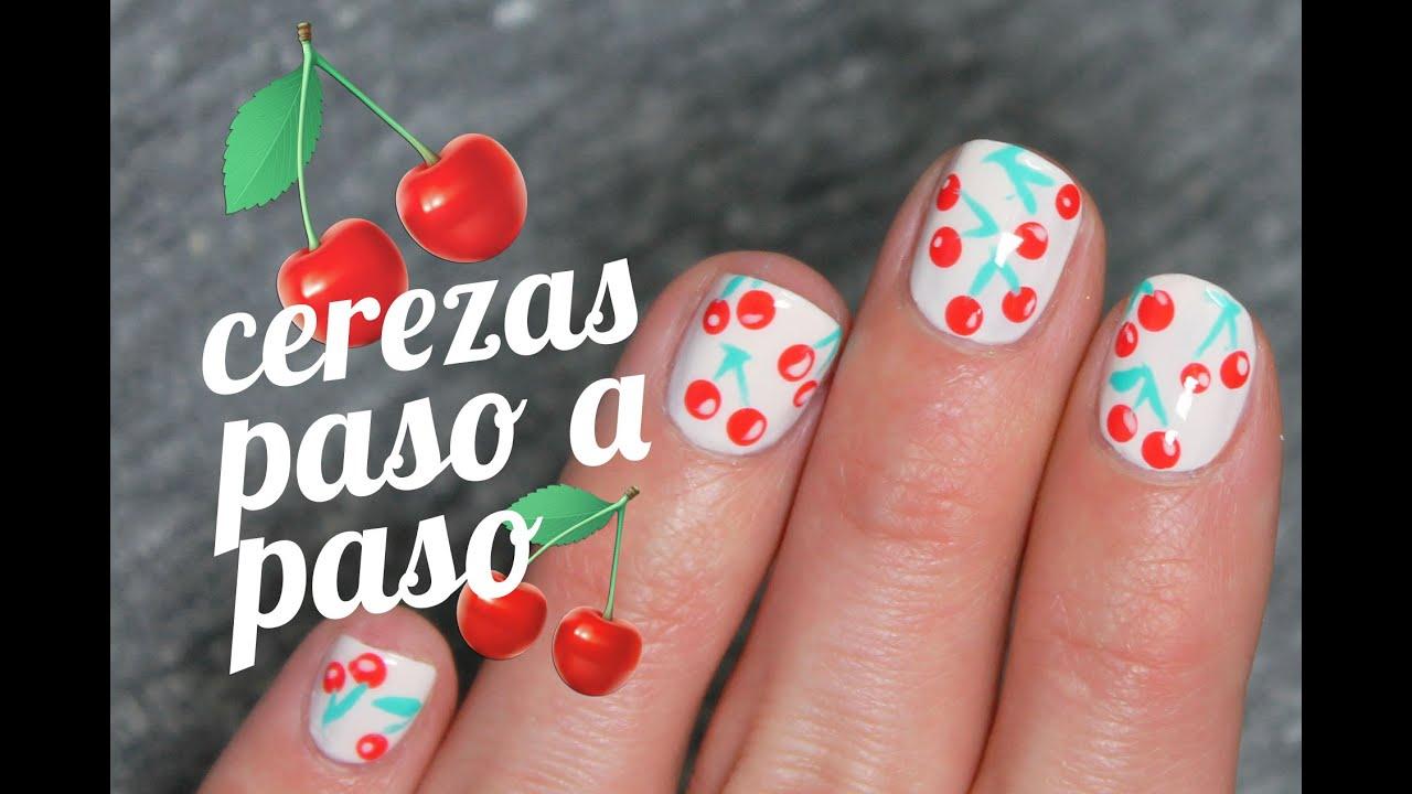 Uñas decoradas con cerezas paso a paso - YouTube