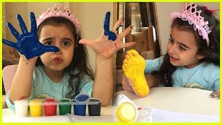 El Boyası ile El ve Ayağımızı Boyayıp Baskı Yaptık, Çok Eğlenceli Oldu l Çocuk Videosu.