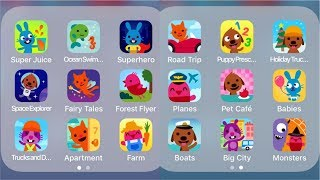 Sago Mini SuperJuice,OceanSwimmer,Superhero,SpaceExplorer,FairyTales,ForestFlyer,Trucks,Apartment