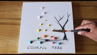 Painting Simple Colorful Tree / Acrylic / Fan Brush & Palette Knife / Project 100 Days / Day #10
