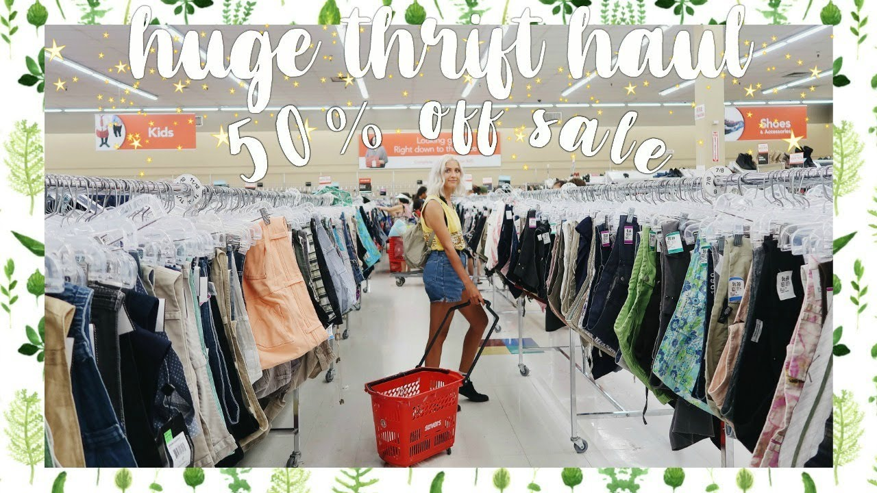 [VIDEO] - HUGE Try On Thrift Haul | 50% Off EVERYTHING Thrift Store Sale 6