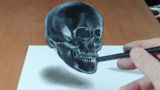 Anamorphic illusion, Drawing Levitating 3D Crystal Skull, Time Lapse