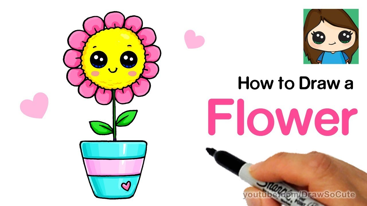 How to draw a flower easy and cute youtube for How to draw a cute flower