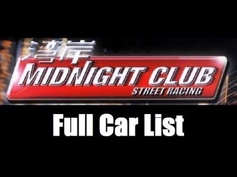 Midnight Club: Street Racing - Full Car List