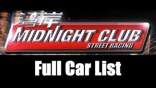 Midnight Club: Street Racing - Full Car List