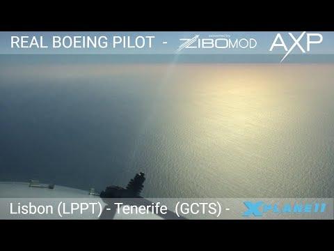 Real Airline Pilot LIVE (X-Plane 11 - ZIBO MOD 737) Lisbon - Tenerife South   VOR APPROACH