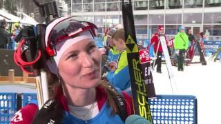 Дарья Домрачева после женской эстафеты 5ого этапа Кубка мира по биатлону в Рупольдинге